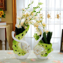 NEWQZ Elegant Swan Shaped Porcelain Vases for Home Decor, a Pair Flower vases Set Living Room Decoration Wedding Gifts