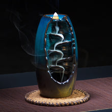 NEWQZ Ceramic Waterfall Smoke Backflow Incense Burner with 50 Incense Cones Free,Living room decor