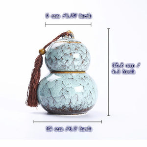 "NEWQZ Ice Crack Glaze Gourd Shaped Kitchen Food Storage Container Seal Jar, Candy Jar Layer 2 Space, 6.1"" H"