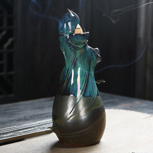 NEWQZ Ceramic Zen Backflow Incense Burner, Waterfall Smoke Incense Holder