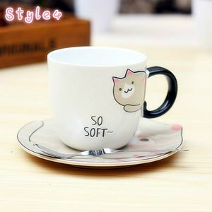 Cute Kitty 220ml Coffee Mug, Cute Cartoon Porcelain Drink Cup with Saucer and Spoon for Milk Tea/Milk/Tea