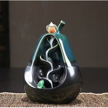 NEWQZ Ceramic Apple & Pear Shaped Backflow Incense Burner with 50 Pcs Incense Cones