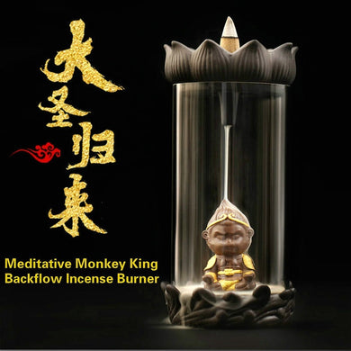 NEWQZ Ceramic Zen Meditation Monkey King Backflow Incense Burner