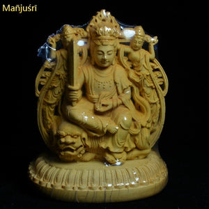 Exquisite Boxwood Buddha Statue, Collectible Figurines for Home Decor