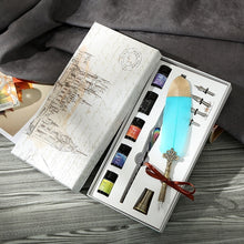 Colorful Ink Glass Pen Feather Pen Set