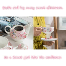 Rose Pink Pastoral Style Teapot and Teacup Integrated Tea Set
