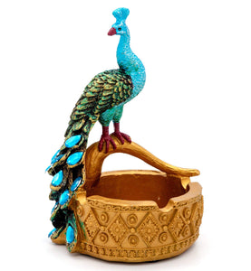 Creative Retro Resin Ashtray with Peacock Model Smoking Accessories Crafts Desktop Decoration