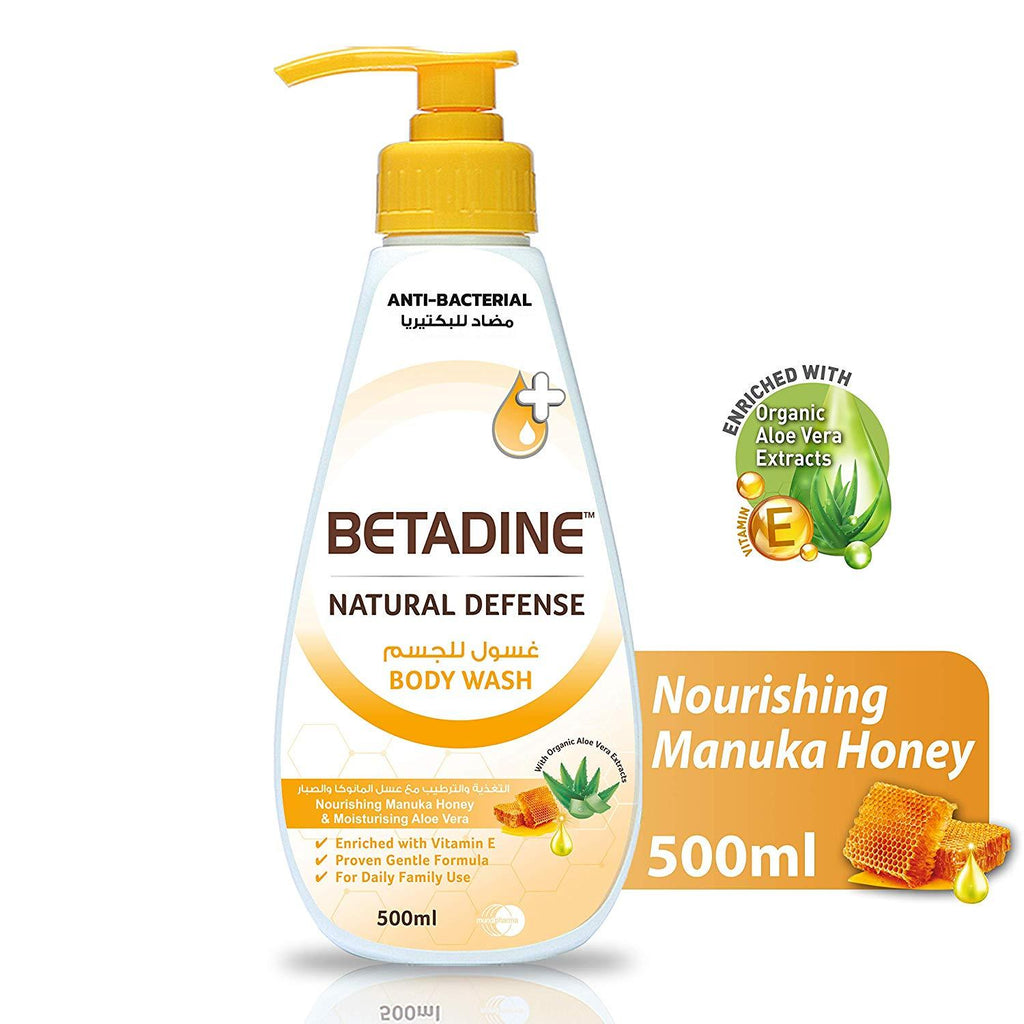 Betadine Natural Defense Body Wash Manuka Honey 500 Ml