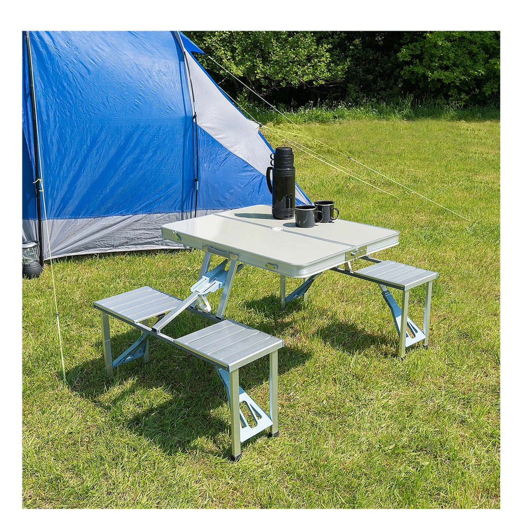 Phenomenal Aluminium Folding Portable Picnic Outdoor Camping Table 4 Chairs Download Free Architecture Designs Scobabritishbridgeorg