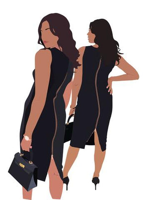 Sketch of Two Women In Black Professional Dresses
