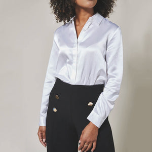 Woman with White Lilysilk Shirt