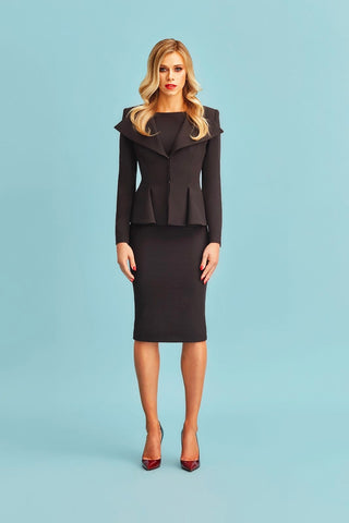 Black Structured Blazer with Pencil Skirt