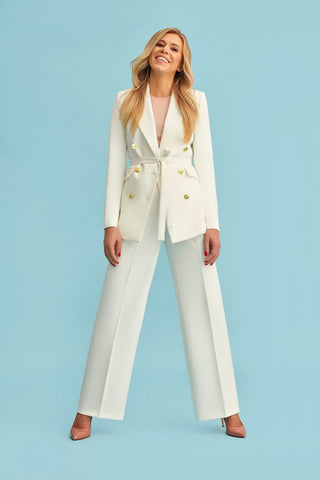 Wide-Leg Pant with Double Button Blazer