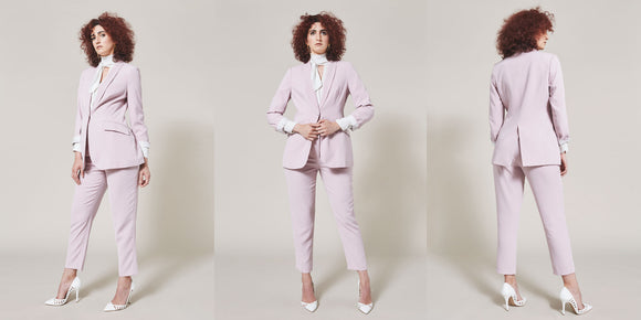 Same woman in three different positions wearing pink suit