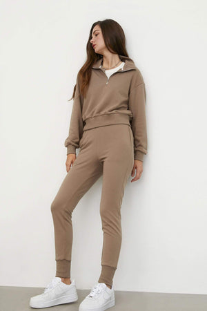 Cozy Slim-Leg Sweatpants, Tan