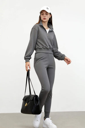 Cozy Slim-Leg Sweatpants, Grey