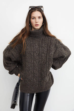 Chunky Rose Brown Cable Knit Turtleneck