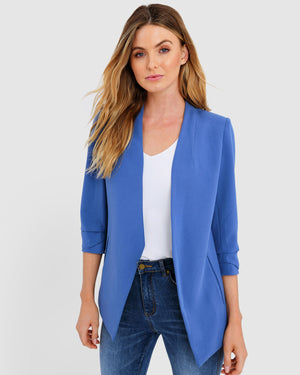 Blue Carter Collarless Blazer by Forcast