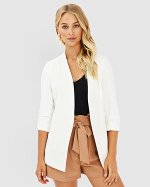 White Carter Collarless Blazer by Forcast