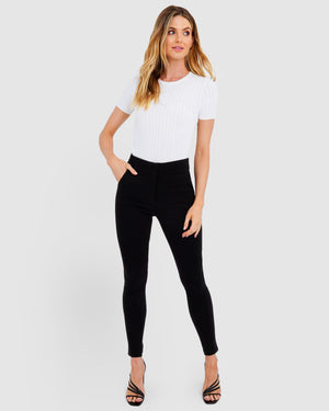 Black Emily High-Waisted Skinny Pants by Forcast
