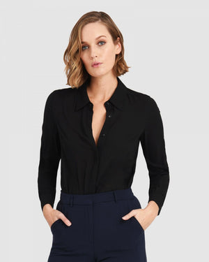 Milan Button Up Blouse in Black
