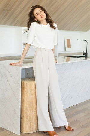Business Essential Ivory Wide Slacks