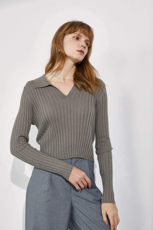 Coco Ribbed Sweater, Dark Khaki