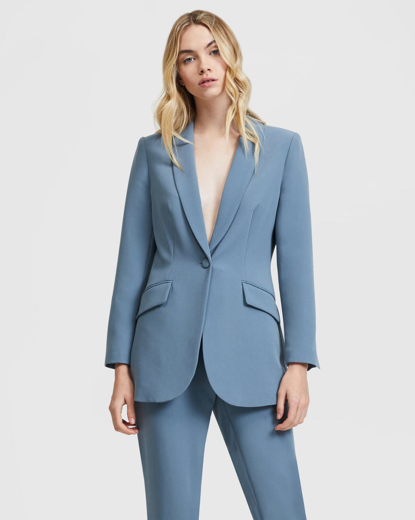 Steel Blue Blazer with Tie Belt by Aris