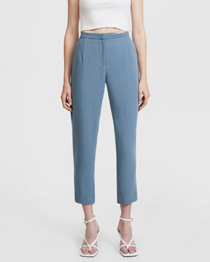 Steel Blue Belted Suit Pants By Aris