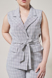 Slate grey plaid suit vest with two pockets, one black button and waist tie.