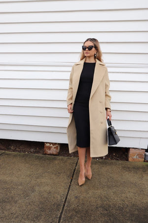 Obi Camel Trench Coat