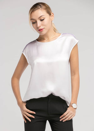 Basic Casual Sleeveless Silk Tee in White