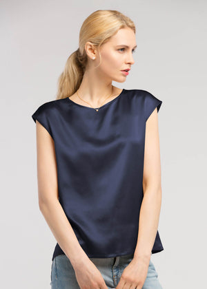 Basic Casual Sleeveless Silk Top - Navy