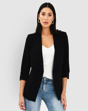 Black Carter Collarless Blazer by Forcast