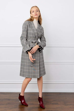 Ida Grey Plaid Trench Coat
