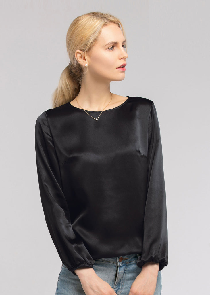 Basic Casual Sleeveless Silk Tee in Black