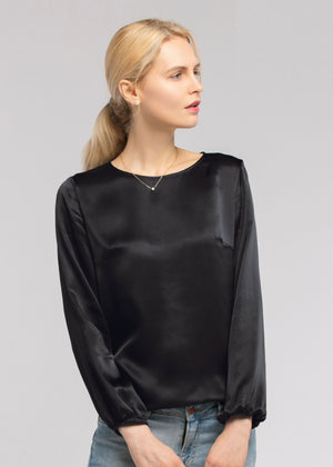 Basic Casual Sleeveless Silk Top - Black