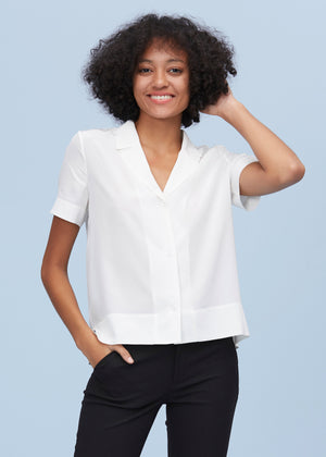 V Neck Half-Sleeve Silk T-shirt in White