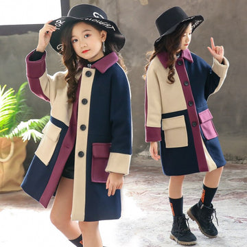 Girls Wool Coat  Patchwork