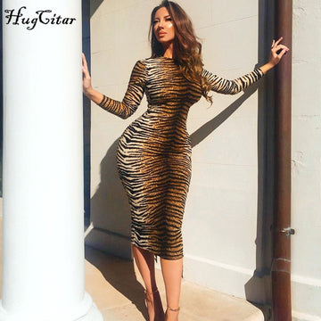 Hugcitar Leopard Print Long Sleeve Slim Bodycon