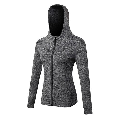 Women Yoga Running Jacket Quick Dry Long Sleeve Front Zipper Training Fitness Yoga Sport Coats Jacket Black Women's Clothing