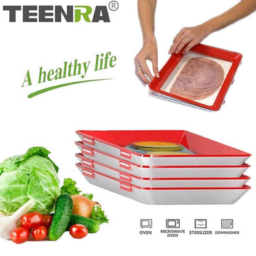 TEENRA Creative Food Preservation Tray Stackable Food Fresh Tray Magic Elastic Fresh Tray Reusable Food Storage Container