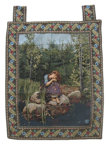 "Fairy Girl Forest Behind the Veil Woven Artistic Elegant Woven Fabric Baroque Tapestry Wall Hanging - 28"" X 43"""