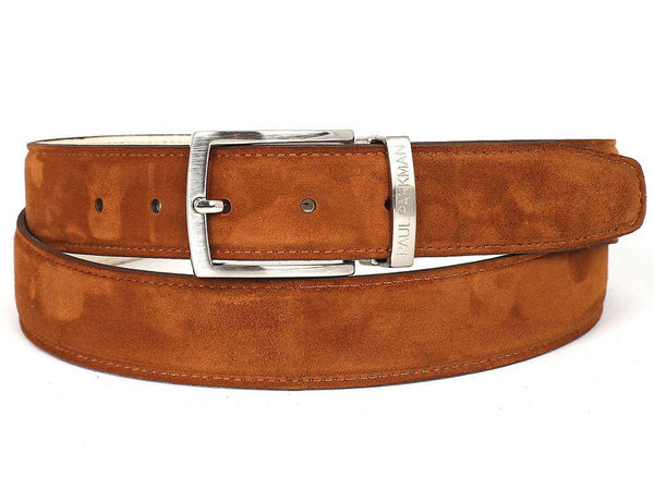 PAUL PARKMAN Men's Tobacco Suede Belt (ID#B06-TABA)