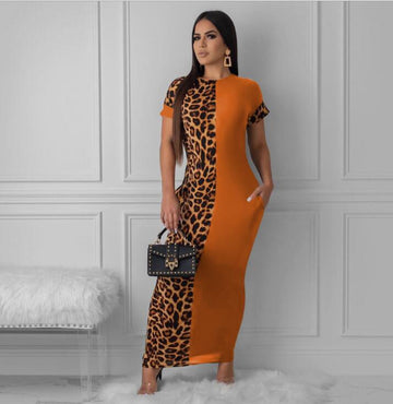 Leopard Print Bodycon Long Maxi Dress