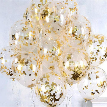 10pcs/Lot Clear Balloons Gold Star Foil Confetti Transparent Balloons