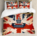 British Flag London Ribbon and Crown Image Decorative 3 Piece Bedding