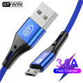 GTWIN 3M Micro USB Cable 3A Fast Charging for Xiaomi Redmi Note 6 Pro Android Mobile Phone Charger Data Cable for Samsung S7 S6