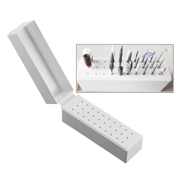 30 Holes Nail Art Drill Grinding Head Bit Holder Display Storage Box Nail Drill Bits Container Stand Display Rack #262497