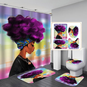 African American Women Shower Curtain Set for Bathroom